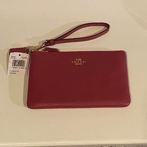 Coach SM Pebbled Leather Wristlet